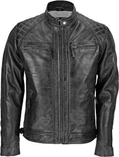 Mens New Real Soft Leather Antique Washed Brown Black Vintage Zipped Smart Casual Biker Style Jacket