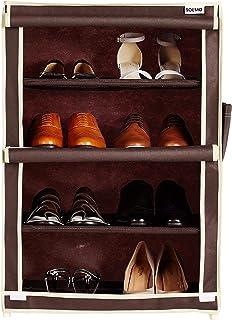 Amazon Brand - Solimo Shoe Rack, 4 Racks, Brown