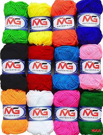 M.G Enterprises 12 pc Combo Wool Ball. Hand Knitting Art Craft Soft Fingering Crochet Hook Yarn, Needle Knitting Thread Dyed