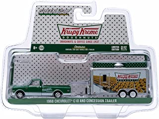 1968 CHEVROLET C10 & CONCESSION TRAILER (Krispy Kreme Doughnuts) * Hitch & Tow Truck & Trailer Series 4 * Limited Edition 2015 Greenlight Collectibles 1:64 Scale Die-Cast Vehicle Set