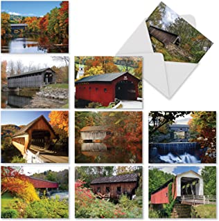 10 All-Occasion Note Cards with Envelopes 4 x 5.12 inch, Assorted 'Covered Bridges' Stationery Set, Blank Greeting Cards for Weddings, Condolences, Thank Yous - NobleWorks M2374OCB