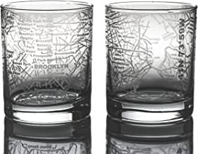 Greenline Goods Whiskey Glasses - 10 Oz Tumbler Gift Set for Brooklyn lovers, Etched with Brooklyn Map | Old Fashioned Rocks Glass - Set of 2
