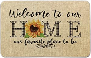 Summer Front Door Welcome Mat -Welcome to Our Home- Sunflower Buffalo Plaid Burlap Doormat for Office/Home/Classroom/Store Entryway Porch Decor Gifts   27.5X17 inches OCCdesign B069