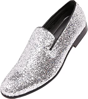 Amali The Original Mens Metallic Sparkling Glitter Tuxedo Slip On Smoking Slipper Dress Shoe Runs Large - Size 1/2 a Size Down