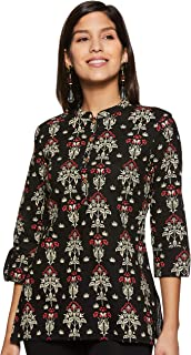 Amazon Brand - Myx Women's Floral Regular Fit 3/4 Sleeve Cotton Kurti Top