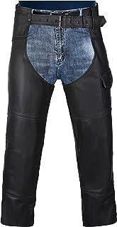 HWK Motorcycle Leather Chaps Pants Biker Cowboy Riding...