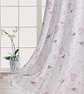 Home Fashion Sheer Curtains Grommet Top Floral Print Window Treatment with Multicolor Birds Cute Butterfly Leaves Fruit For Girls Bedroom Fancy Cartoon Design for Living Room 84