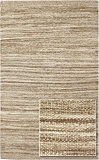 Landry & Arcari Striae Collection J42943 Brown Hand-loomed Dhurrie Area Rug 10 feet by 14 Feet (10x14)