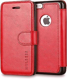 Mulbess Funda iPhone 5c [Libro Caso Cubierta] [En Capas de Billetera Cuero] con Tapa Magnética Carcasa para iPhone 5c Case, Vino Rojo