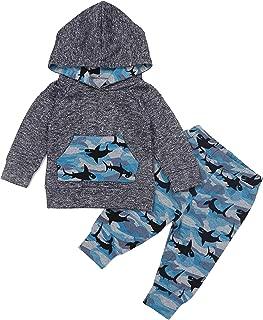 Baby Boys Clothes Shark Doo Doo Doo Long Sleeve Hoodie Tops Sweatsuit + Pants Outfit Set
