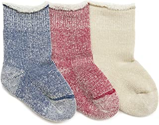 PEDDOUX Merino Wool Winter Socks for Toddler Size 3T 4T Girls Boys Kids 3 Pairs Pack/Organic Cotton Blend/Cozy & Sustainably Sourced