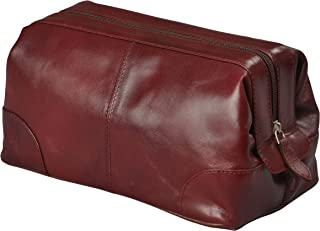 Mens Toiletry Bag Dopp Kit by Bayfield Bags-Small Compact Minimalist Glossy Leather Shaving Kit For Toiletry Travel Bag (10x5x5) (burgundy) Men's Toiletries Bag, Organizer Grooming Kit For Men