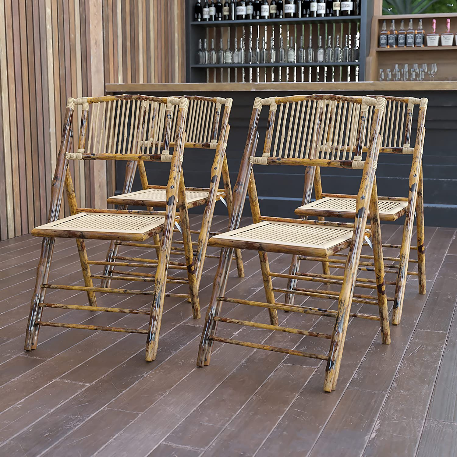 Flash Furniture Super special price 4 Pack American Champion Our shop OFFers the best service Chair Bamboo Folding
