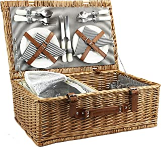 4 Person Picnic Basket, Large Willow Hamper Set with Insulated Compartment, Handmade Large Wicker Picnic Basket Set with Utensils Cutlery - Perfect for Picnicking, Camping, or any Other Outdoor Event
