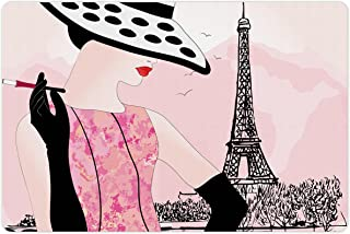 Ambesonne Teen Room Pet Mat for Food and Water, Woman with Hat Smoking in Front of Eiffel Tower in Shabby Pink Design, No...