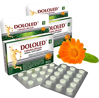 DOLOLED Calendula Officinalis 2 Pack (30 Tablets, Total 60 Tablets) 150 mg Each Tablet, for All Types of Pain, Anti-inflammatory, 100% Natural, Antioxidant. Non GMO