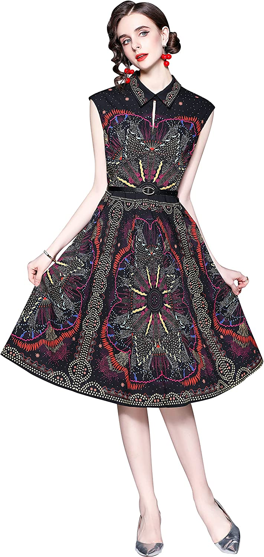 LAI MENG FIVE CATS Women's Floral Print Collared Shirt Dress Button up Casual A-line Midi Dress