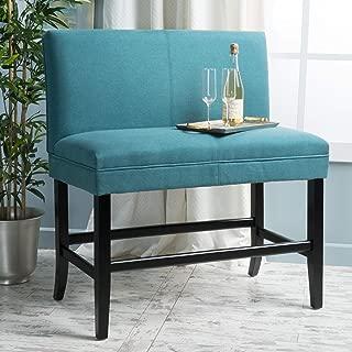 Christopher Knight Home Emilia Dark Teal Fabric Barstool Bench