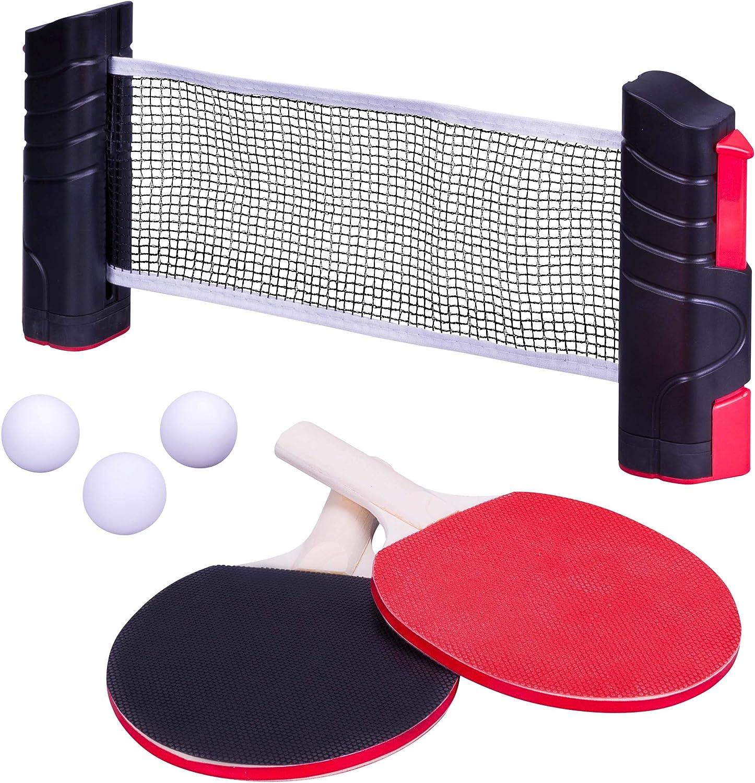 Nexos - Juego de Ping Pong de Mesa portátil, Red retráctil, 2 Raquetas + 3 Pelotas + Bolsa de Almacenamiento