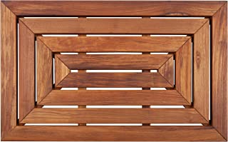 Nordic Style Premium Teak Shower and Bath Mat Heavy-Duty and Oiled for Indoor and Outdoor Use - Non-Slip Wooden Platform for Spa, Sauna, Pool, Hot Tub - 31.4 x 19.6-Inch Flooring Decor and Protector
