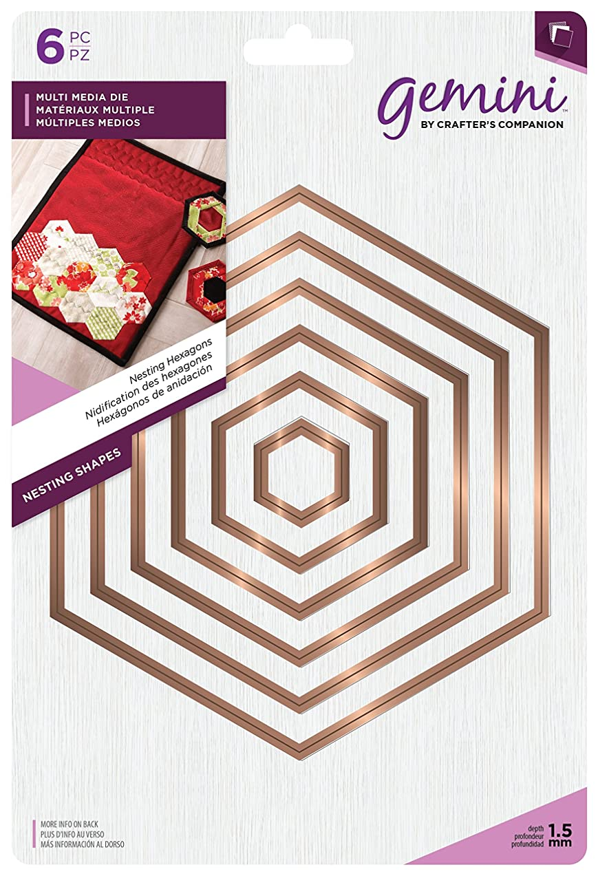 Gemini Nesting Hexagons Multi Media Die, Metal, Gold, 24.6 x 16.8 x 4.8 cm