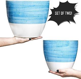 """Hash & Mash Premium 10"""" & 8"""" Ceramic Planter (Set of 2) - Large Ceramic Pots for Plants - Flower Plant Pots with Drainage Holes & Plugs (10 Inch & 8 Inch Planter Set, Blue/White)"""
