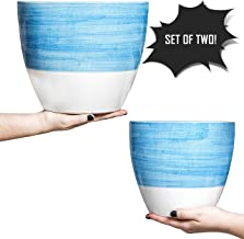Large Ceramic Pots for Plants - 10 & 8 Inch Ceramic Planters (Set of 2) - Double-Glazed Flower Pots with Drainage Holes & Plugs - Sturdy, Durable Design Great for Indoor & Outdoor Use by Hash & Mash