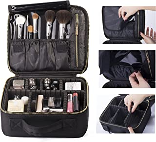 ROWNYEON Portable Makeup Bag EVA Professional Makeup Artist Bag Makeup Train Case Makeup Organizer Bag (small, Black - S)
