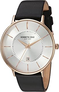 Kenneth Cole Men's Silver Dial Leather Band Watch - KC15097002