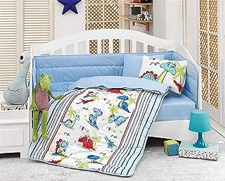 Cute Dinosaurs - 100% Cotton Nursery Crib Set for Boys, 6 Pieces Baby Comforter/Quilt Set with Crib Bumper, Comforter, Crib Sheet, Pillowcases
