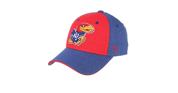 CampusHats University of Kansas KU Jawhawks Top Faded Blue Red Challenger Adult Mens//Womens//Boys Baseball Hat//Cap Size Medium Large