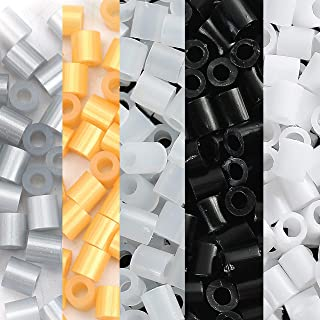 5,000 Fuse Fusion Beads in Metallic Gold Silver Black White and Transparent Colors 5 x 5mm Bulk Pack, Works with Perler Beads