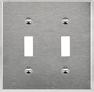 Enerlites 7712 Toggle Switch Stainless Steel Wall Plate 2-Gang, Standard Size, 430 Grade Alloy Metal Plate Corrosive Resistant Cover for Rotary Dimmers Lights