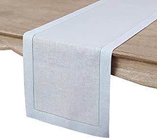 Solino Home Hemstitch Linen Table Runner - 14 x 132 Inch, Handcrafted from European Flax, Machine Washable Classic Hemstitch - Light Blue
