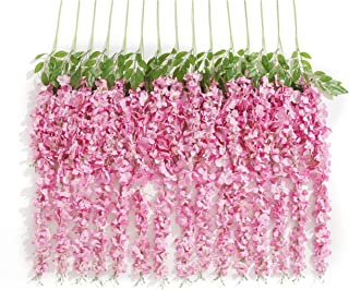 Huata 10PCS 3.2 Feet Artificial Flower Wisteria Vine Ratta Hanging Wedding Decor Garlands(Pink)