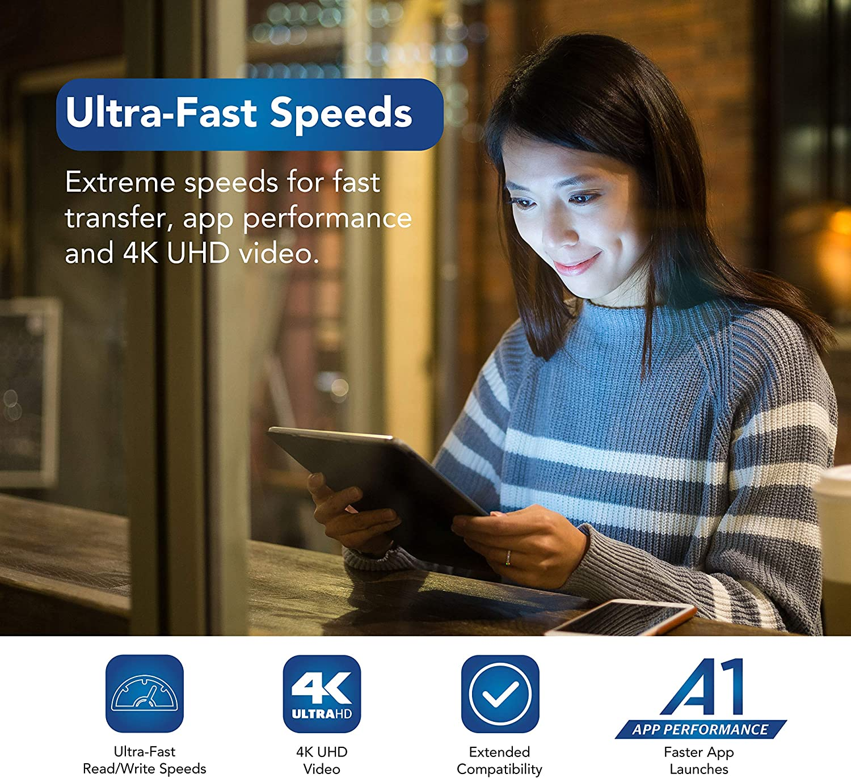 Hyundai 512GB Micro SD Card (MicroSDXC) UHS-1 Memory Card with Adapter, 95MB/s (U3) 4K Video, Ultra HD, A1, V30 (SDC512GU3)