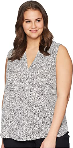Plus Size Sleeveless Pintuck Blouse