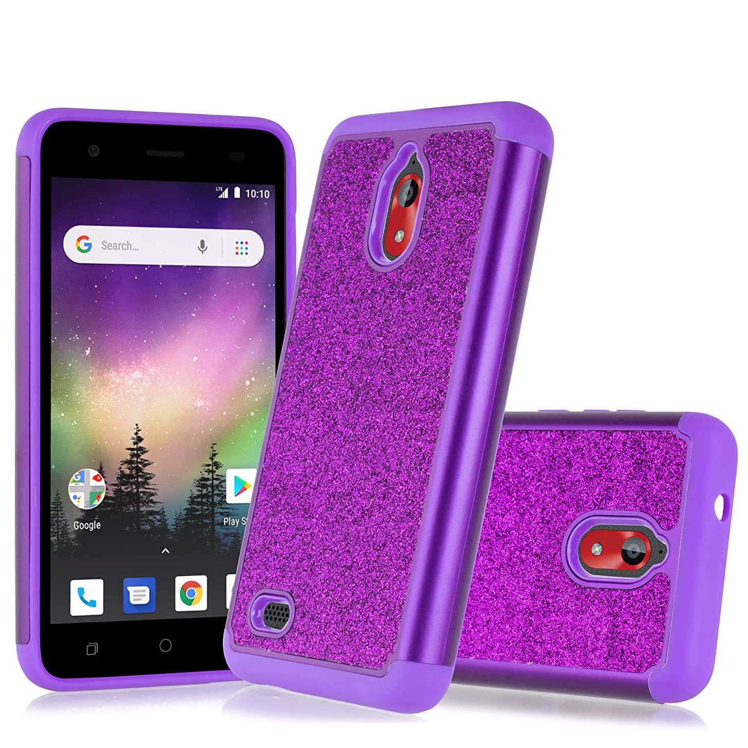 Compatible for Coolpad Illumina 3310A Case, 6goodeals, with HD Screen Protector for Girls Women, Glitter Bling Dual Layer Hybrid Shockproof Phone Case (Purple)