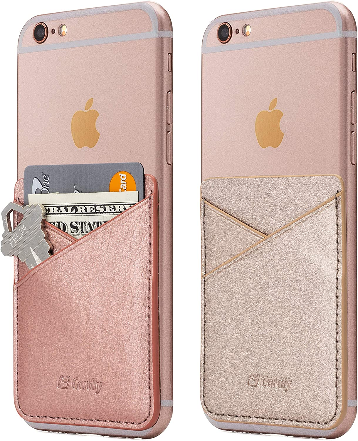 (Two) Cell Phone Stick On Wallet Card Holder Phone Pocket for iPhone, Android and All Smartphones. (Rose Gold)