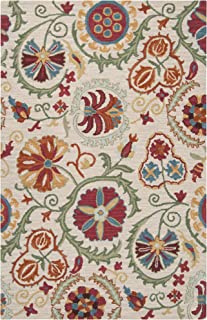 Surya Centennial CNT-1052 Transitional Hand Tufted 100% Wool Oatmeal 2' x 3' Floral Accent Rug