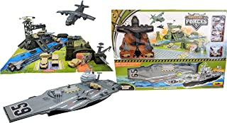 Toy Essentials Military Big Battle Base and Aircraft Carrier Combo Play Set with Accessories