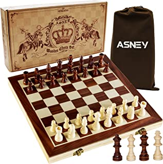 "ASNEY Upgraded Magnetic Chess Set, 15"" Tournament Staunton Wooden Chess Board Game Set with Crafted Chesspiece & Storage Slots for Kids Adult, Includes Extra Kings Queens & Carry Bag"