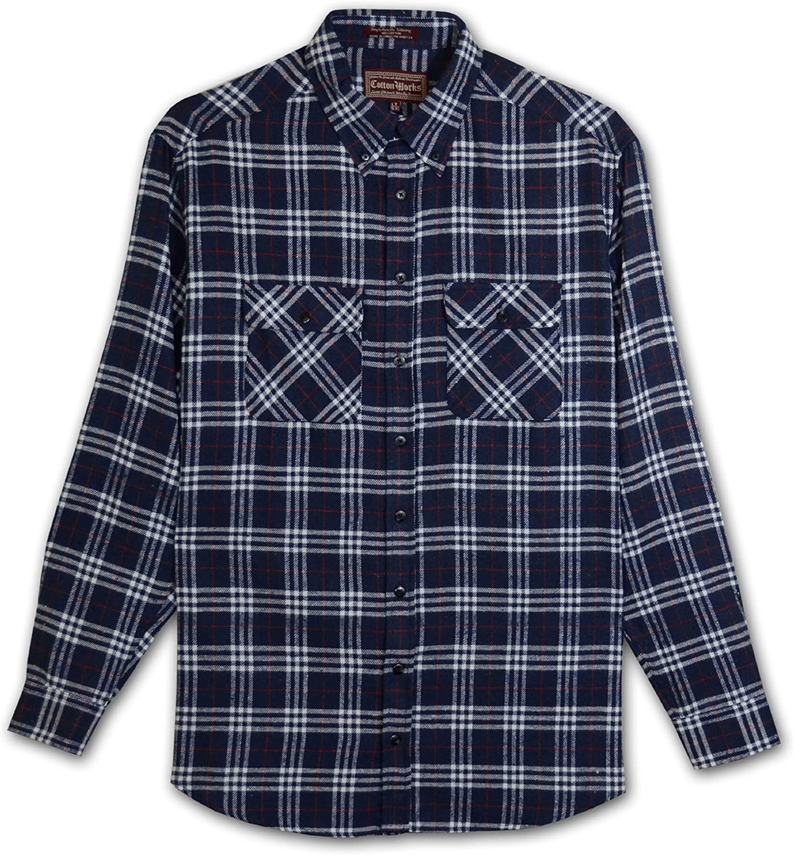 Falcon Bay Cotton Works Tall Mens Button Down Flannel Plaid Shirt