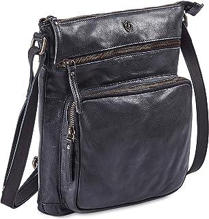 Cochoa Frauen Damen Vintage Echtes Leder Große Umhängetasche Ledertasche Handtasche