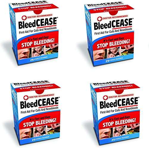 2021 Bleedcease popular First Aid for Cuts and sale Nosebleeds Sterile Packings, 25 Count (4) online