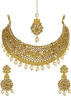 Bindhani الهندي نمط مجوهرات الزفاف وصيفات الشرف مطلية بالذهب كوندان قلادة بوليوود أقراط مجموعة مجوهرات للنساء (ذهبي)