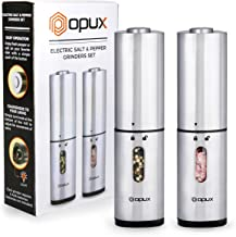 OPUX Deluxe Electric Salt and Pepper Grinder Set | Automatic Pepper Mill, Battery Salt Shaker, Electronic with LED Light and Bottom Covers | Adjustable, Stainless Steel Modern Design