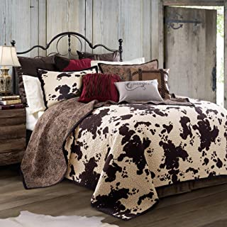 HiEnd Accents Elsa Cowhide 3-PC Cow Print Reversible Quilt Set, Full/Queen, White & Chocolate
