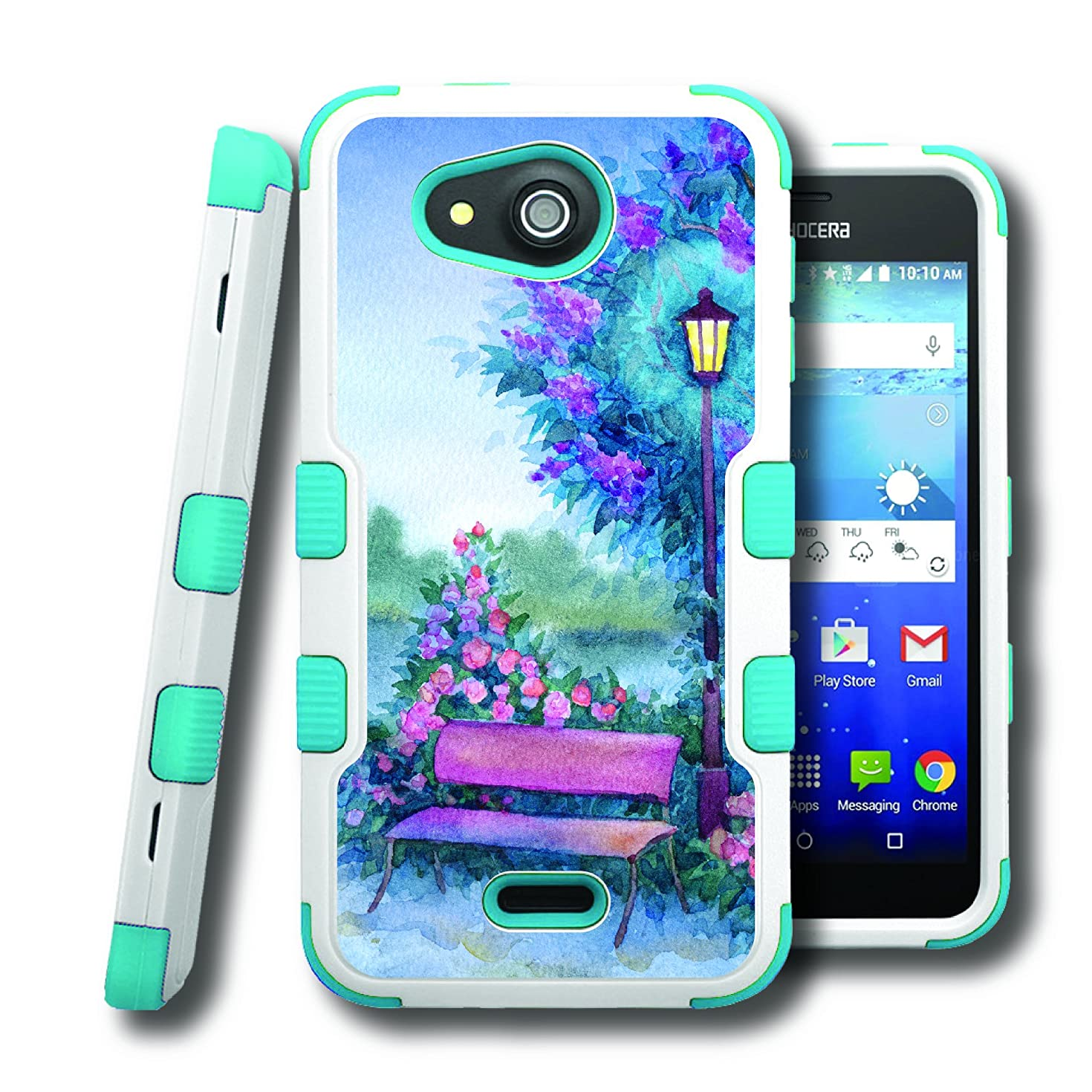 Hydro Wave Case, CASECREATOR[TM] For Kyocera Hydro Wave / Kyocera C6740 (T-Mobile, MetroPCS) -- NATURAL TUFF Hybrid Rubber Hard Snap-on Case Teal Blue White-Lamp Post Bench