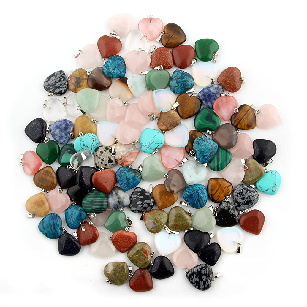 Mutilcolor Heart Shape Healing Chakra Beads Crystal Quartz Stone Random Color Pendants for Necklace Jewelry Making